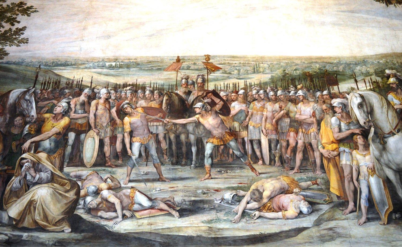 Musei Capitolini, Sala Orazi e Curiazi. Affresco del Cavalier d'Arpino
