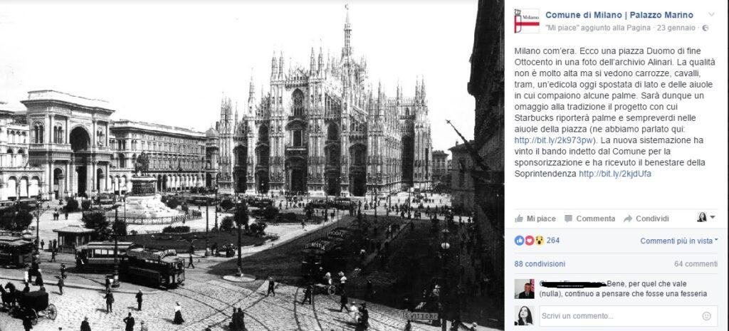Palme a Piazza Duomo nell'800. Un post su Facebook del Comune di Milano