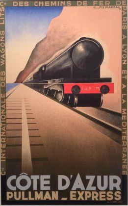 Pierre Fix-Masseau, Cote d'Azur Pullman Express, 1929, collezione Alessandro Bellenda–Galleria L'Image, Alassio, Savona