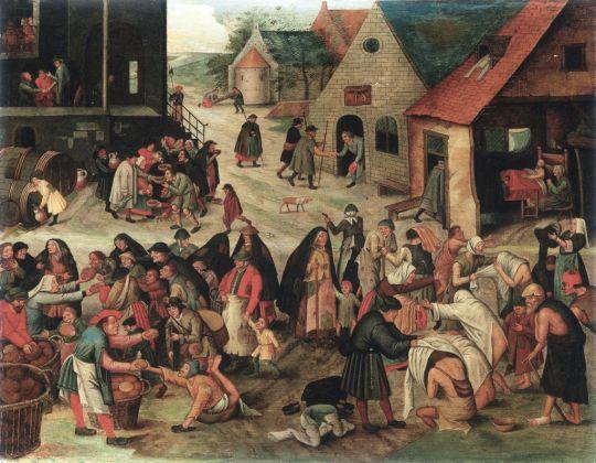 Pieter Brueghel il Giovane, Le sette opere di misericordia, 1616. Collezione privata, Belgio