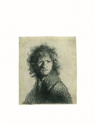 Rembrandt Harmenszoon van Rijn, Autoritratto dall'espressione corrucciata, 1630, Acquaforte, 69 x 59 mm, Zorn Museum, Mora