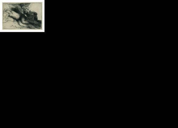 Rembrandt Harmenszoon van Rijn, Giove ed Antiope. Lastra grande, 1659, Acquaforte, bulino e puntasecca, 138 x 205 mm, Zorn Museum, Mora