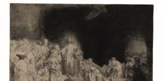 Rembrandt Harmenszoon van Rijn, La stampa dei cento fiorini, c. 1648, Acquaforte, puntasecca e bulino, 278 x 388 mm, Zorn Museum, Mora