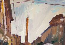 Renato Barilli, Le Due Torri, 2015-16. Tempera su carta Fabriano, cm 70x50 ca.