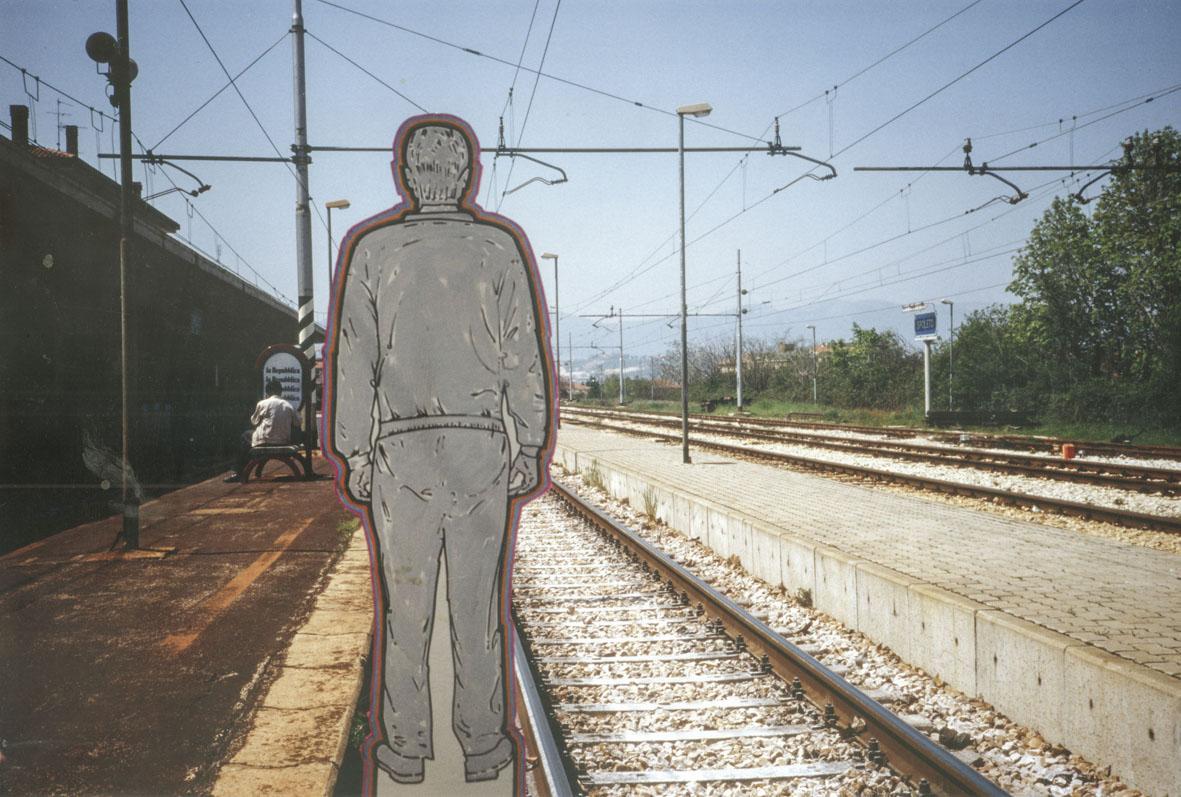 Renato Mambor, Testimone oculare e binari, Spoleto, 1996, foto documento