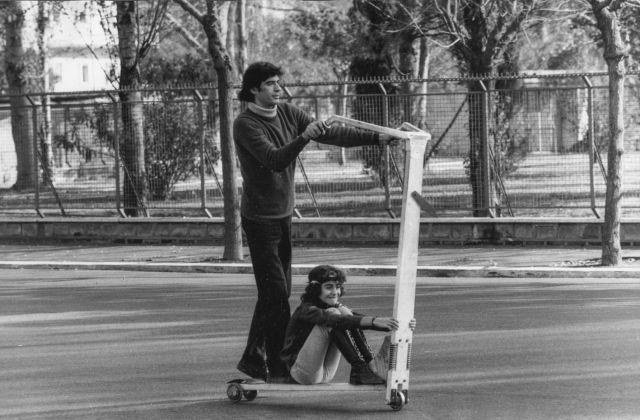 Renato Mambor su Monopattino Easy Rider, 1970