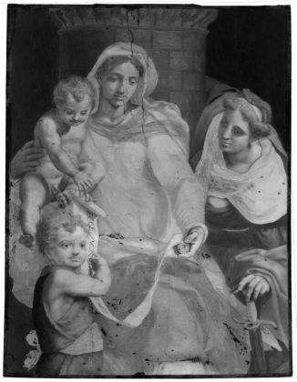 Riflettografia di Madonna con il Bambino, san Giovannino e santa Barbara di Daniele da Volterra