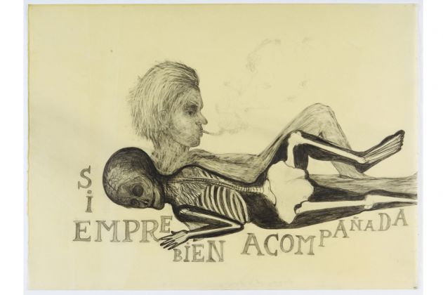 Sandra Vásquez de la Horra, Siempre Bien Acompanada, 2012. Graphite on paper, wax, 55,5 x 76 cm