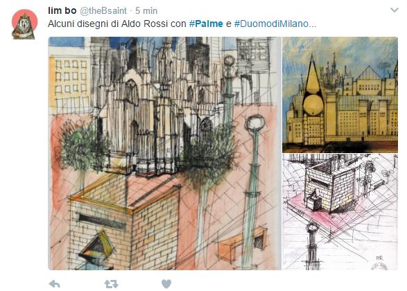 Su Twitter segnalano alcuni disegni di Aldo Rossi. Piazza Duomo con tanto di palme