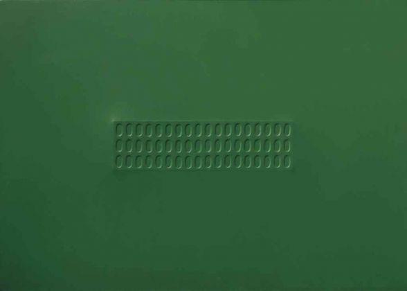 Turi Simeti, Superficie verde con ovali, 1966