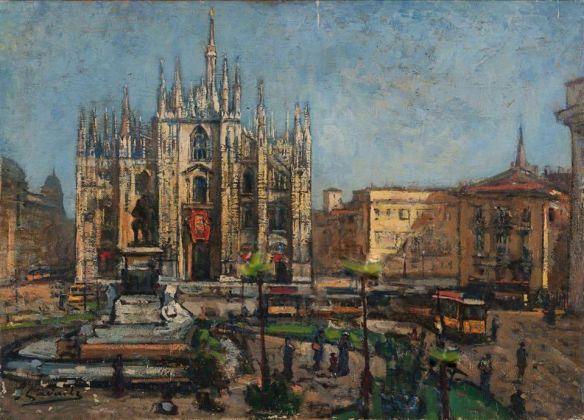 Un dipinto del Novecento. Anche qui palme in Piazza Duomo