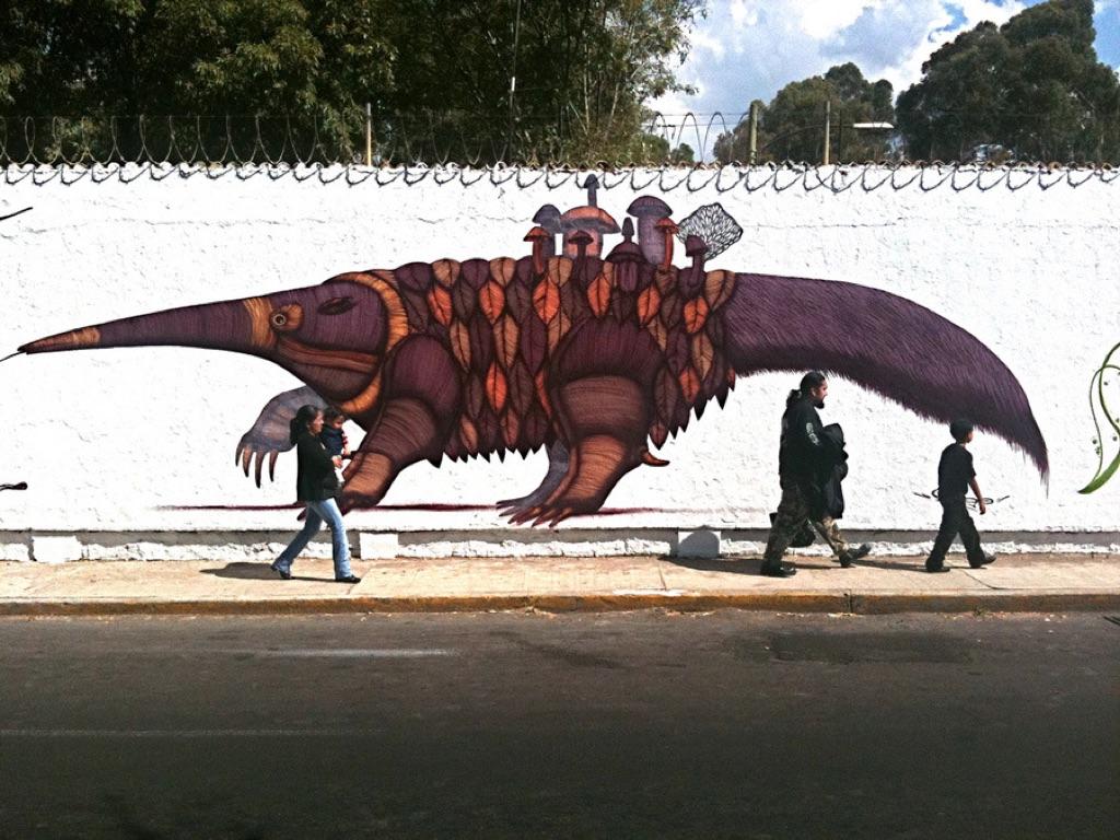 Un murale di Sego y Ovbal a Città del Messico