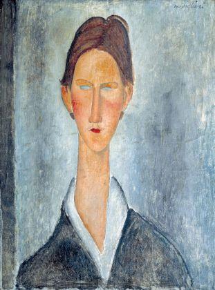 Amedeo Modigliani, Giovane con i capelli rossi o lo studente, 1919. Olio su tela, 61 x 46 cm. Courtesy Richard Delh. K.A.D. Gallery - Bruxelles