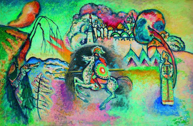 Vasilij Kandinskij, Il cavaliere (San Giorgio), 1914-15. Olio su cartoncino, cm 61 x 91, Mosca, Galleria Tret'jakov © State Tretyakov Gallery, Moscow, Russia