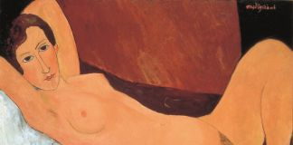Amedeo Modigliani, Nudo disteso (Ritratto di Celine Howard), 1918 circa. Olio su tela, 65 x 100 cm. Collezione privata
