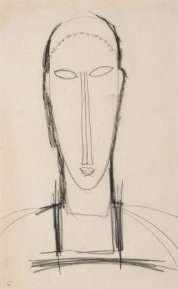 Amedeo Modigliani, Testa di fronte, 1912-1914. Matita su carta, 42,8 x 26,2 cm. Collezione privata
