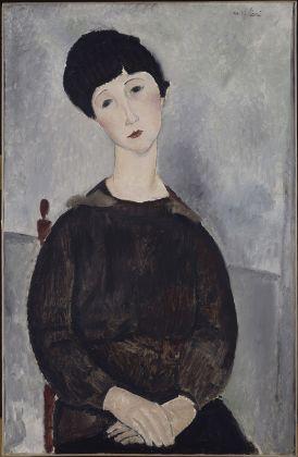 Amedeo Modigliani, Ragazza con capelli neri detta anche ragazza bruna seduta, 1918. Olio su tela, 92 x 60 cm. Parigi, Musée National Ricasso © René-Gabriel Ojéda / RMN-Réunion des Musées Nationaux/ distr. Alinari