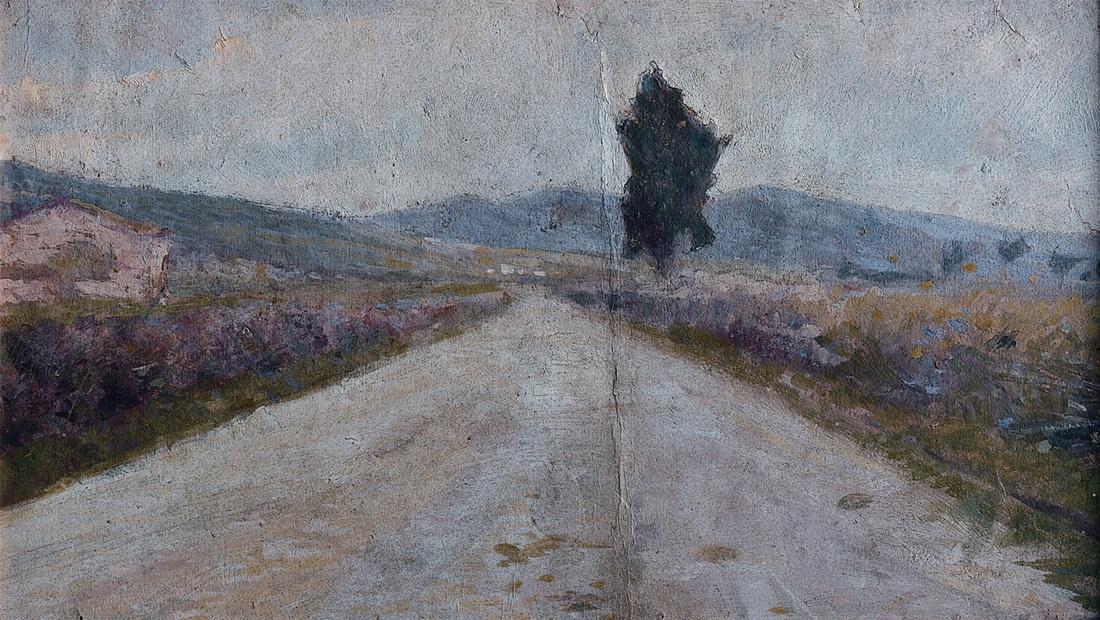Amedeo Modigliani, Paesaggio toscano, 1898. Olio su cartone, 21 x 35,8 cm. Museo civico Giovanni Fattori - Livorno