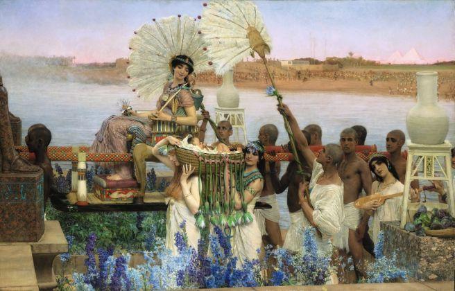Lawrence Alma-Tadema, The Finding of Moses, 1904 (olio su tela, 137.7 × 213.4 cm), Collezione privata, Courtesy Christie's