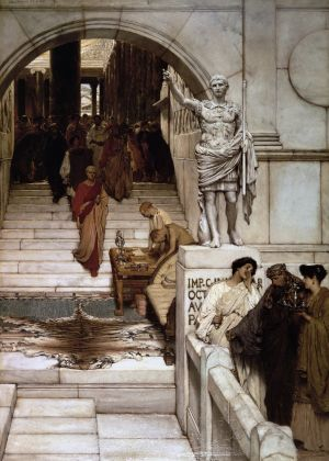 Lawrence Alma-Tadema, An Audience at Agrippa's, 1875 (olio su legno, 90.8 × 62.8 cm), Dick Institute, Kilmarnock, by permission of East Ayrshire Council / East Ayrshire Leisure