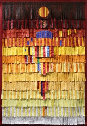 Abdoulaye Konaté, Homme du Sahel, 2015, Textile, Cm 218 x 145, Courtesy Primo Marella Gallery, Milano
