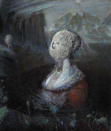Agostino Arrivabene, Coniunctio (diptico), 2016-17, olio su legno, cm 60 x 50