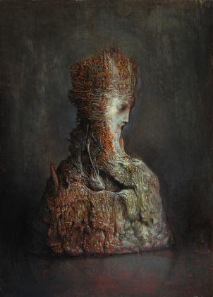 Agostino Arrivabene, Homunculus, 2016, olio su legno, cm 70 x 50