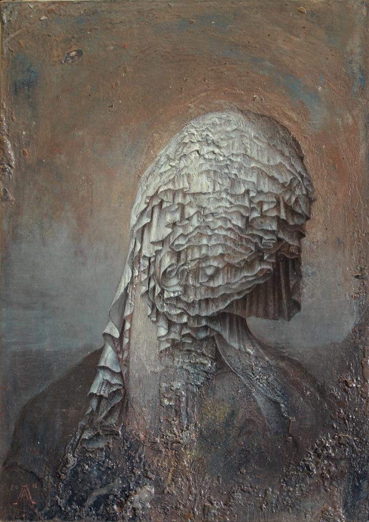 Agostino Arrivabene, Hospes comesque corporis, 2016, olio su legno, cm 35 x 25