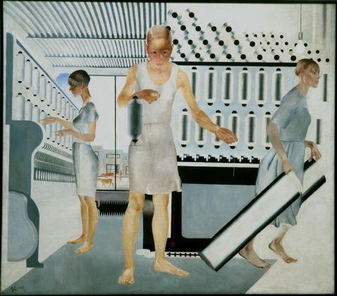 Alexander Deineka, Operaie tessili, 1927. Olio su tela, 161.5 x 185 cm. Museo Statale Russo, San Pietroburgo. Foto (c) 2016, Museo di Stato Russo, San Pietroburgo. (c) DACS 2016. Courtesy Royal Academy of Arts, Londra