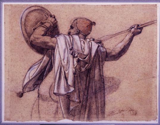 Anne-Louis Girodet de Roussy-Trioson, Arabo visto di spalle, rivolto a sinistra, mentre alza la sua lancia e il suo scudo, 31 x 41 cm, Parigi, collezione Prat