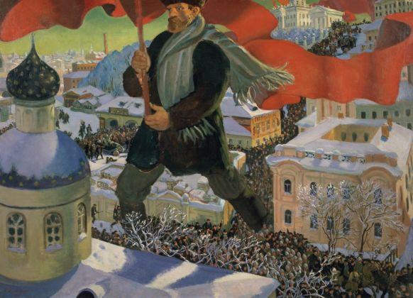 Boris Mikailovich Kustodiev, Bolscevico, 1920. Olio su tela, 101 x 140.5 cm. Galleria Statale Tretyakov. Foto (c) Galleria di Stato Tretyakov. Courtesy Royal Academy of Arts, Londra