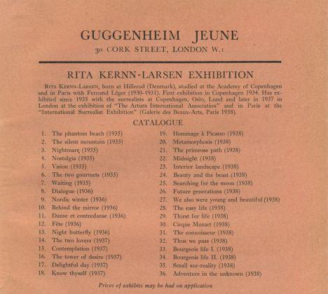 Catalogo della Mostra di dipinti surrealisti di Rita Kernn-Larsen alla Galleria Guggenheim Jeune, Londra, 1938, stampato sul London Bulletin, 1938. Peggy Guggenheim Collection Archives, Venezia