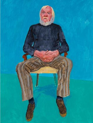David Hockney, Ritratto di John Baldessari, 13, 16 Dicembre 2013, acrilico su tela, 121,9 x 91,4 cm © David Hockney; Photo credit Richard Schmidt