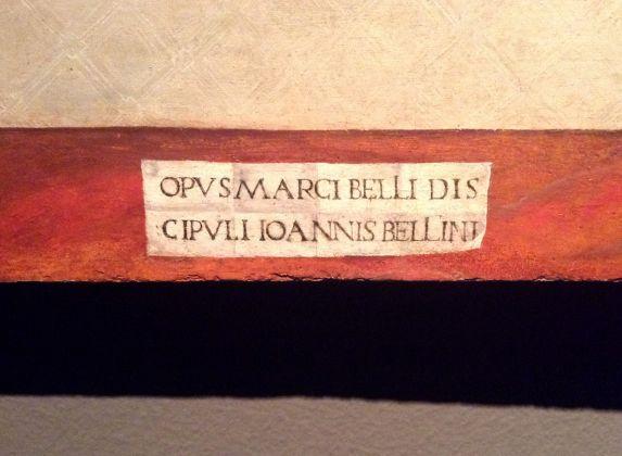 Dettaglio della firma sul dipinto di Marco Bello, Circoncisione