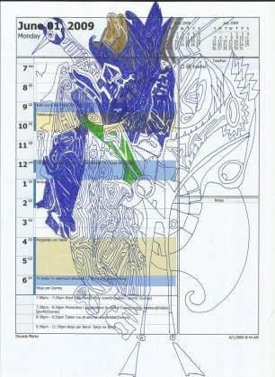 Edi Rama, Untitled (881), mixed media on A4 paper