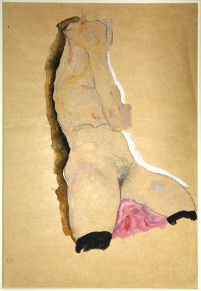 Egon Schiele, Nudo (Torso femminile), 1911, matita e acquerello su carta. Collezione privata in deposito presso la Fondazione Musei Civici di Venezia, Ca' Pesaro-Galleria Internazionale d'Arte Moderna