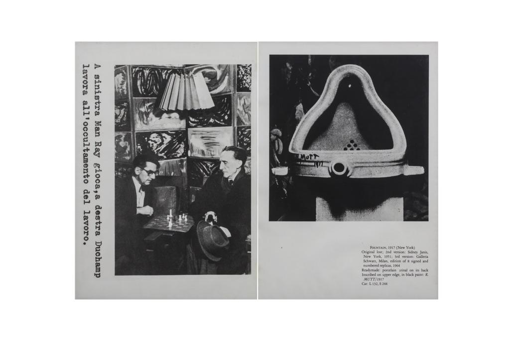 Franco Vaccari, A sinistra Man Ray gioca, a destra Duchamp lavora all'occultamento del lavoro, 1978. Collezione privata, Courtesy Fondazione Marconi, Milano