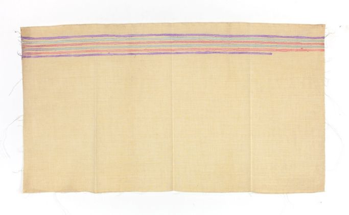 Giorgio Griffa, Linee orizzontali, 1973. Courtesy of Galleria Lorcan O'Neill