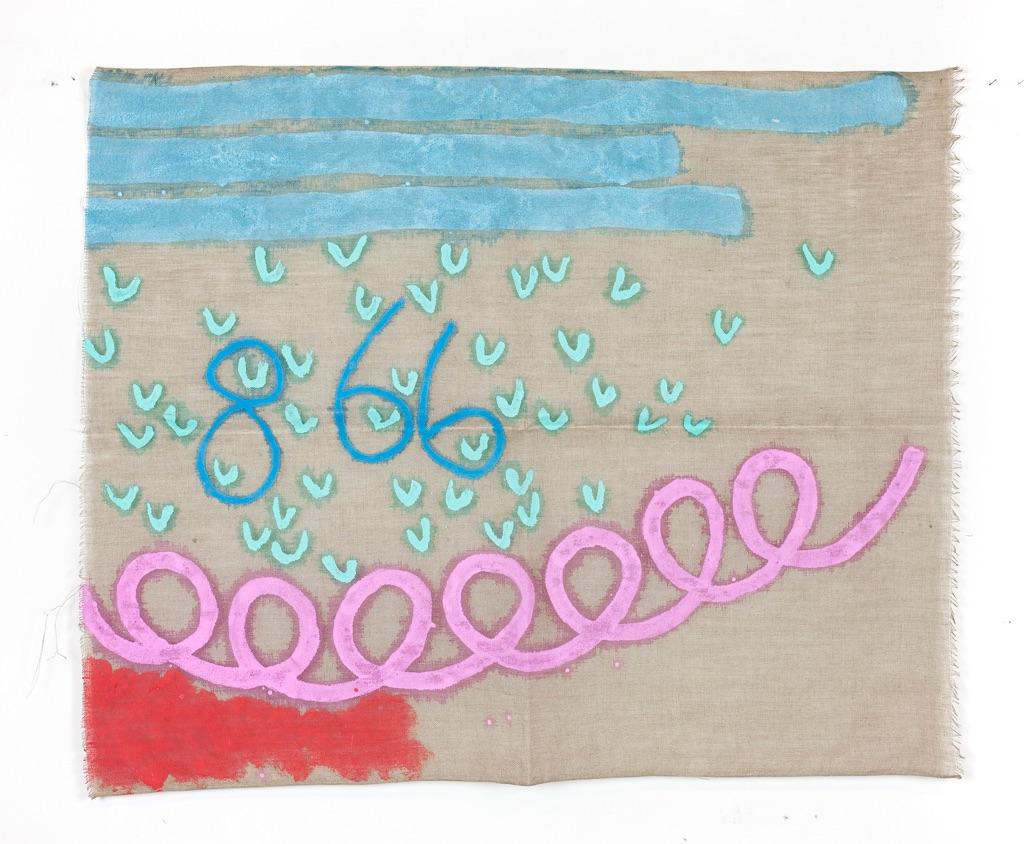 Giorgio Griffa, Tre linee con arabesco n.866, 1993. Courtesy of Galleria Lorcan O'Neill