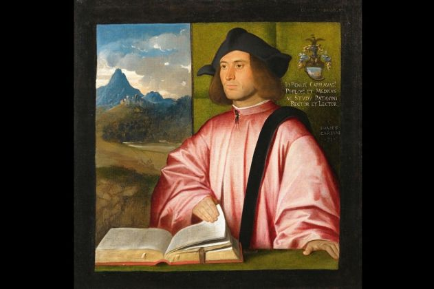 Giovanni Busi detto Cariani Fuipiano al Brembo, Ritratto di Giovanni Benedetto Caravaggi 1520,1521, Olio su Tela, Bergamo Accademia di Carrara