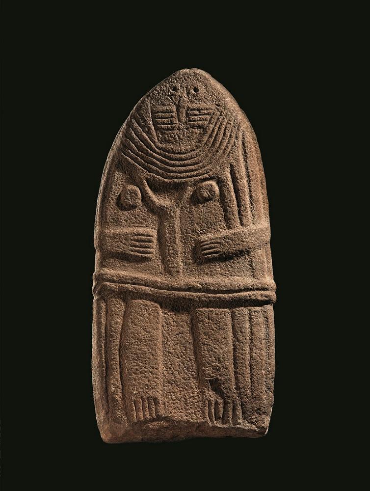 "Intuition, Palazzo Fortuny, Venezia, 2017. Lady of Saint-Sernin Anthropomorphic Figure ""Statue Menhir"" Sandstone 4th - 3d millenium B.C. Collection Musée Fenaille, Rodez, France Collection SLSAA. Photo P. Soiss"