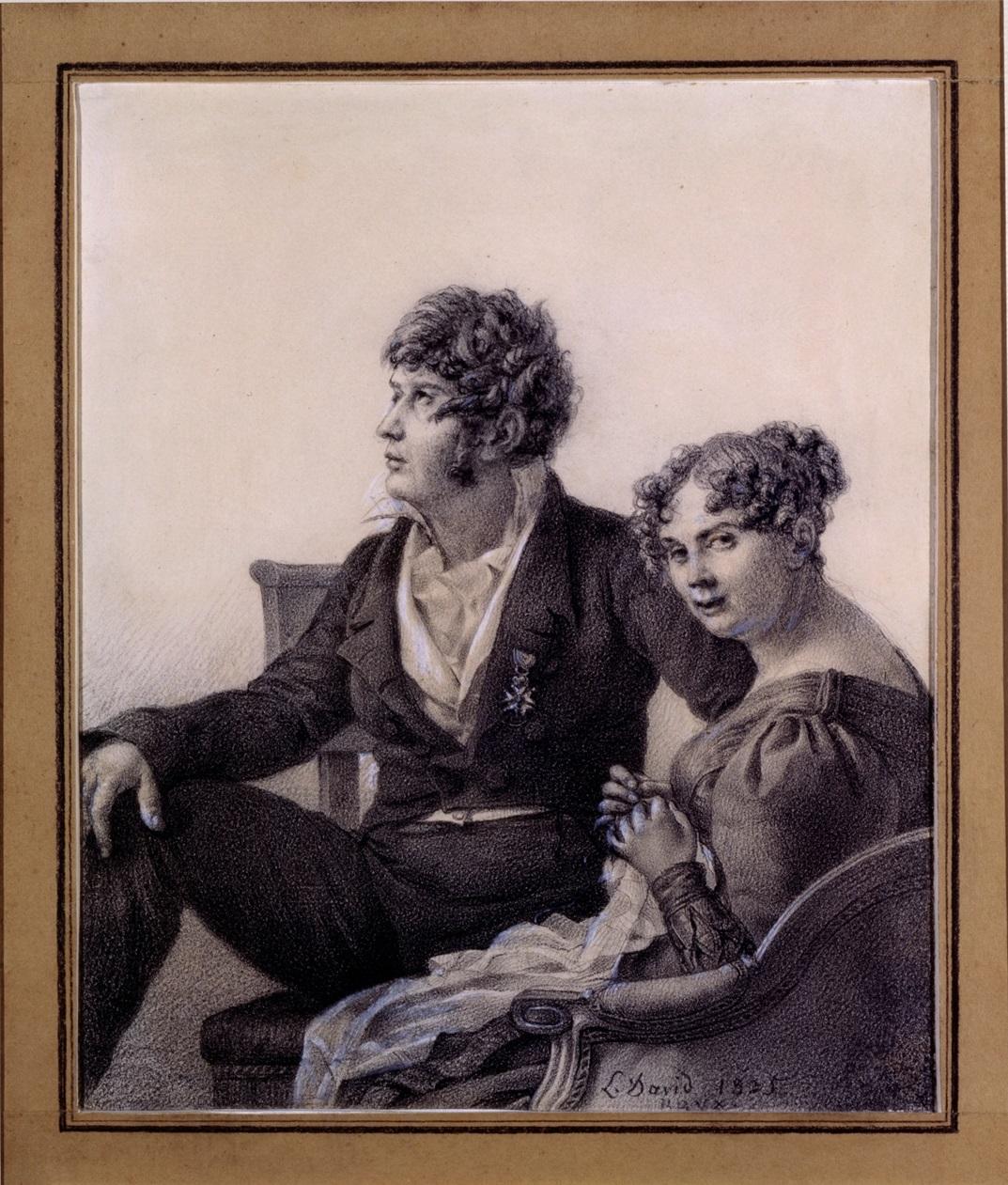 Jacques-Louis David, Ritratto di François-Eugène David e di sua moglie Anne-Thérèse, 24,8 x 20,8 cm. Parigi, collezione Prat