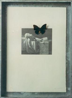 Jannis Kounellis, 1975, Litografia, farfalla cassetta in ferro zincato 57 x 41,5 cm