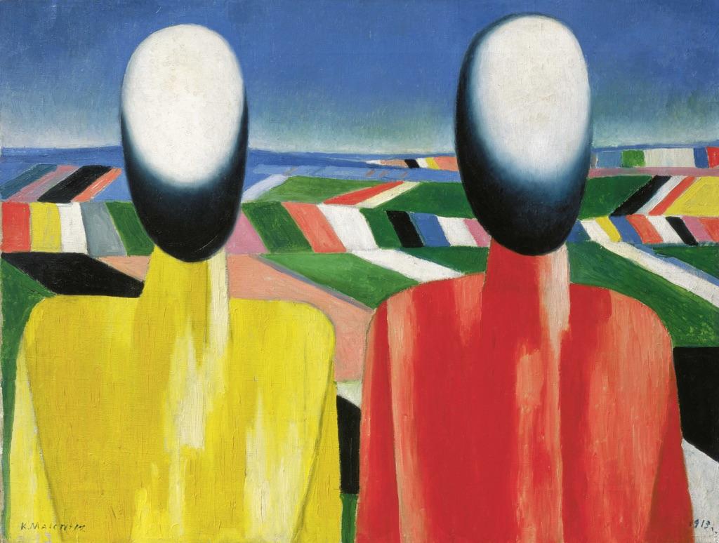 Kazimir Malevich, Contadini, c. 1930. Olio su tela, 53 x 70 cm. Museo di Stato Russo, San Pietroburgo. Foto (c) 2016, Museo di Stato Russo, San Pietroburgo. Courtesy Royal Academy of Arts, Londra