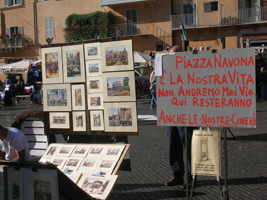 Le proteste dei pittori di Piazza Navona
