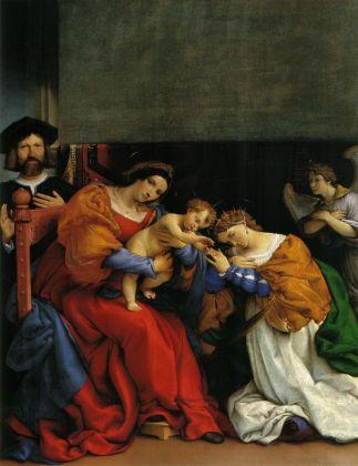 Lorenzo Lotto, Matrimonio mistico di Santa Caterina di Alessandria, 1523, Olio su tela, Bergamo, Accademia di Carrara