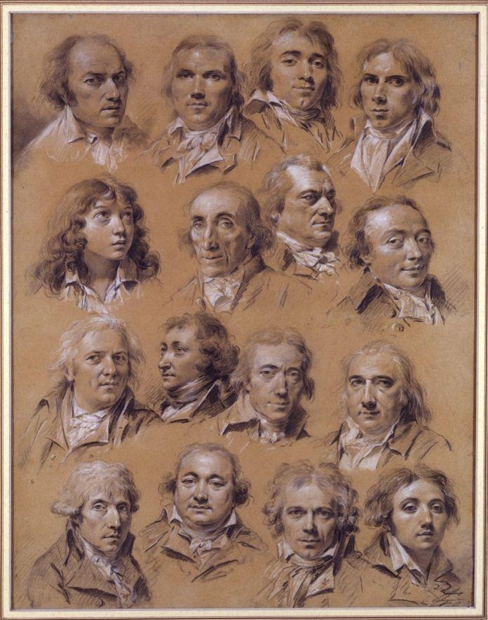 Louis Léopold Boilly, Ritratti di sedici uomini, 57,5 x 45,5 cm. Parigi, collezione Prat