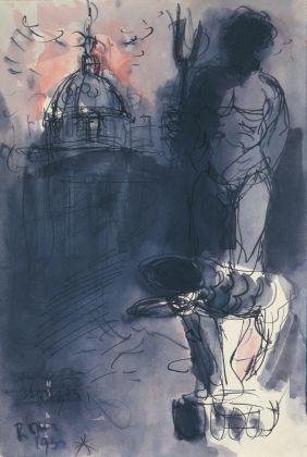 Luigi Broggini, Paesaggio romano con statua del Nettuno,1933. Collezione Giuseppe Iannaccone