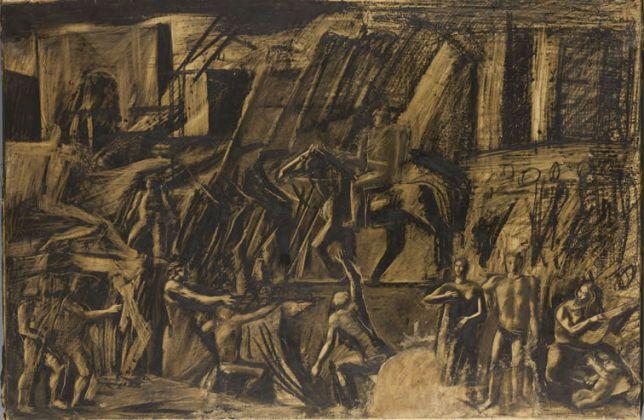 Mario Sironi, L'Italia fra le Arti e le Scienze (noto come Mussolini a cavallo), 1935. Studio preparatorio per l'affresco dell'Aula Magna della Sapienza di Roma. Mart, Collezione Allaria
