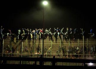 Melilla, Spagna, agosto 2014. Immigrati subsahariani cercano di scavalcare la rete di confine tra Spagna e Marocco © Giulio Piscitelli -Contrasto